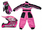 Wulfsport Kids MX Set Pink Helmet Suit & Gloves